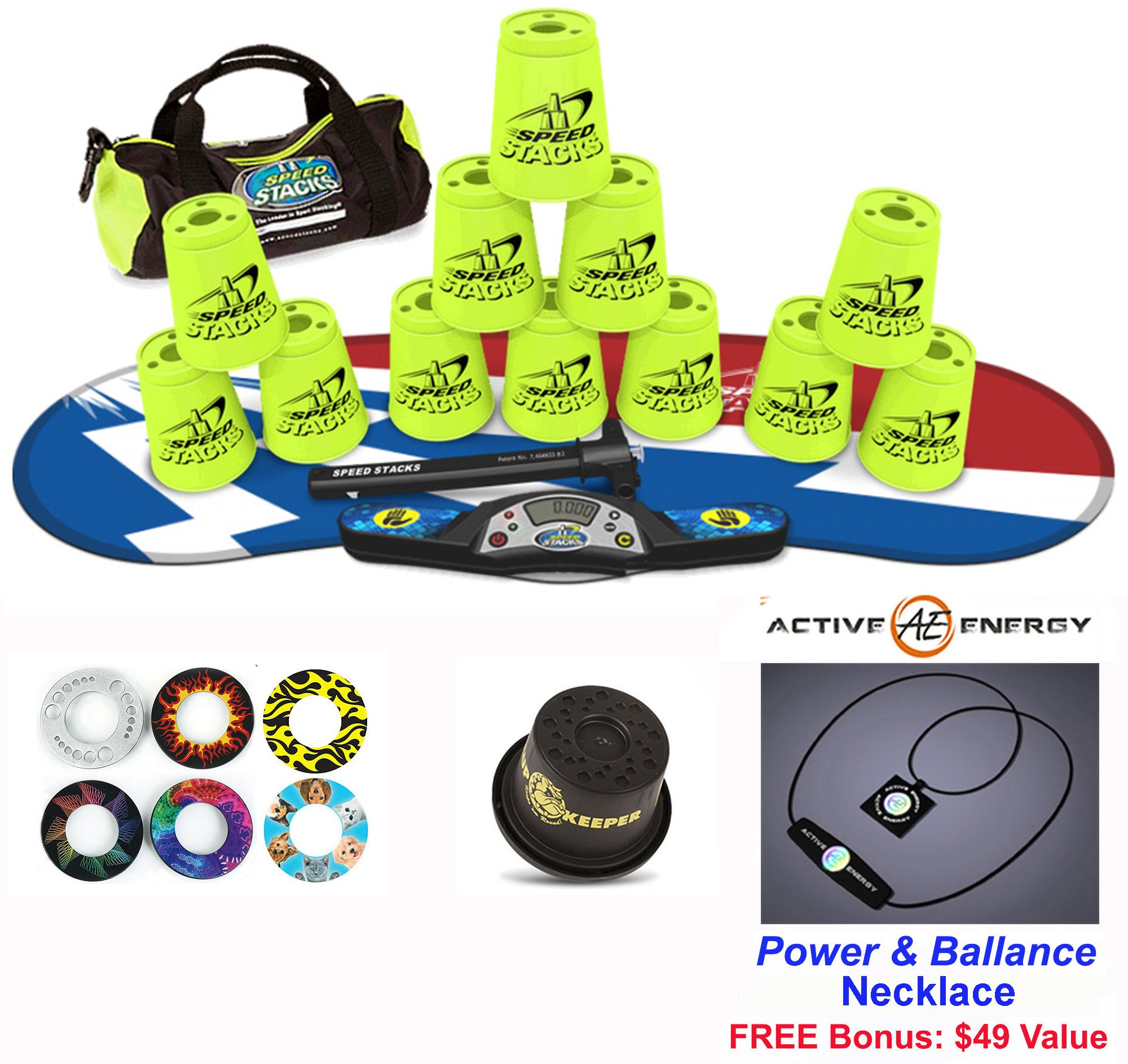 Speed Stacks Combo Set 'The Works'': 12 YELLOW 4'' Cups, Atomic Punch Gen 3 Mat, G4 Pro Timer, Cup Keeper, Stem, Gear Bag + Active Energy Necklace by Speed Stacks