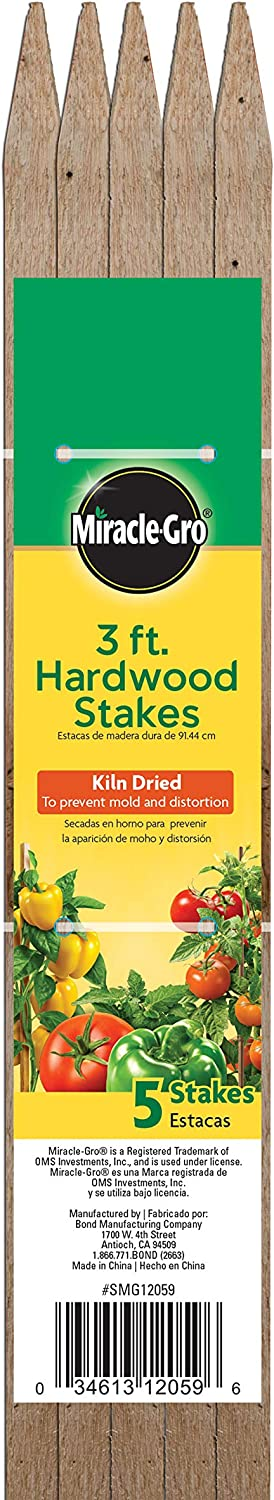 Bond Manufacturing SMG12059 Hardwood Stakes, 3-Feet x 1/2 by 1/2-Inch, 5-Pack