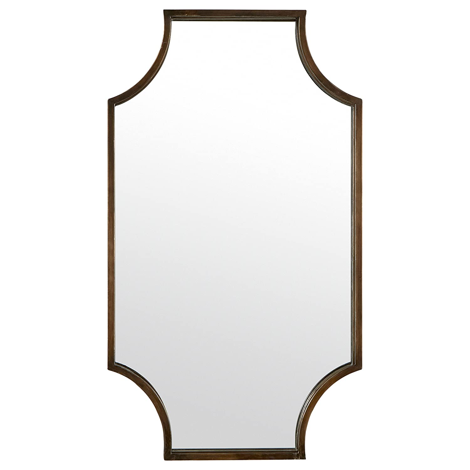 "Stone & Beam Antique-Style Metal Frame Mirror, 32""H, Brown"