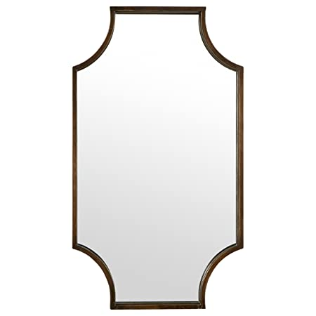 Stone Beam Antique-Style Metal Frame Hanging Wall Mirror Decor, 32 Inch Height, Brown