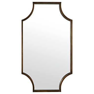 Stone & Beam Antique-Style Metal Frame Hanging Wall Mirror Decor, 32 Inch Height, Brown