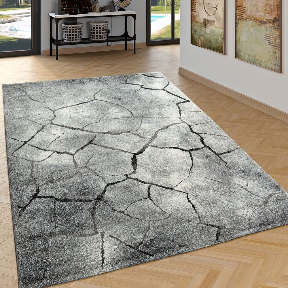 Paco Home Edler Designer Teppich Wohnzimmer Hoch Tief Effekt Steinoptik Modern Grau, Grösse 200x290 cm