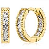 14K Gold Plated 925 Sterling Silver Post Cubic Zirconia Hoop Earrings for Women Elegant Gift Box Packaging