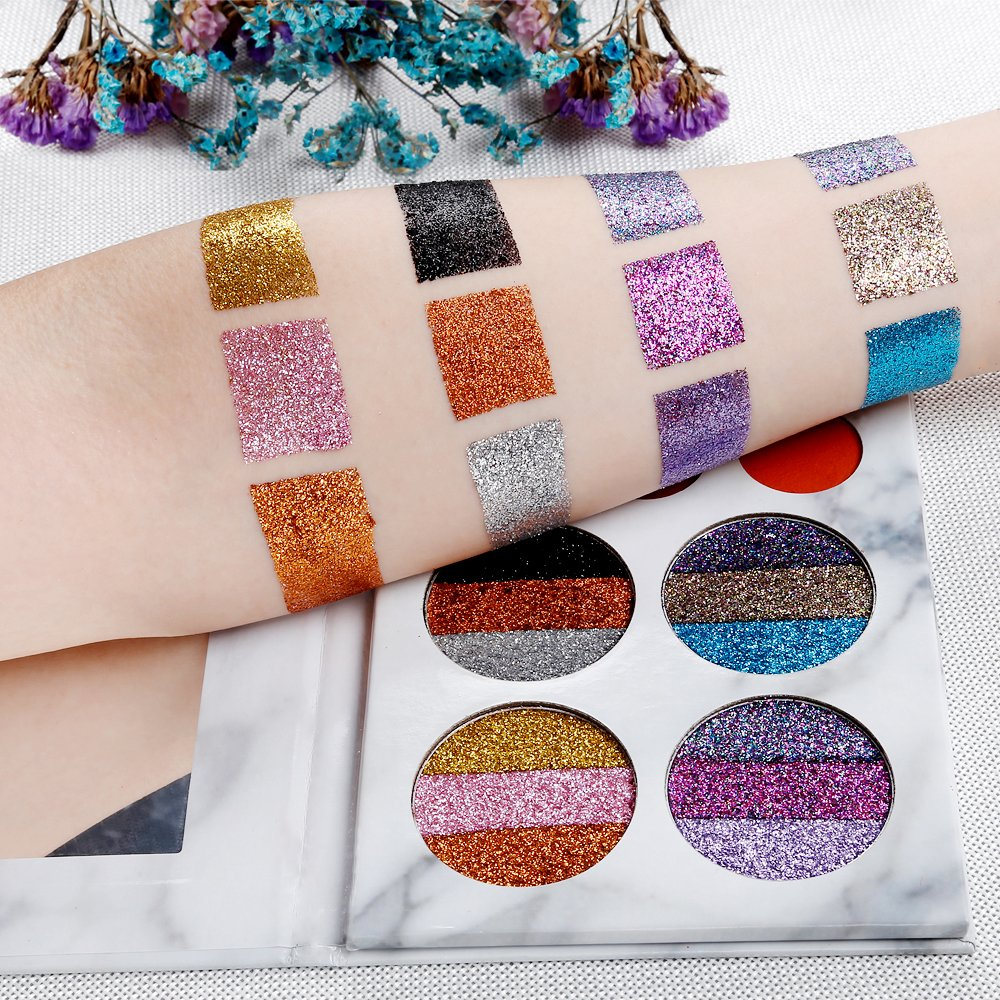 DE'LANCI Eyeshadows Palette Makeup,4 Creamy Mixed Glitter and 6 Matte Shades Insanely Pigmented Cosmetic Eye Shadows Set for Party and Daily Use by DE'LANCI (Image #4)