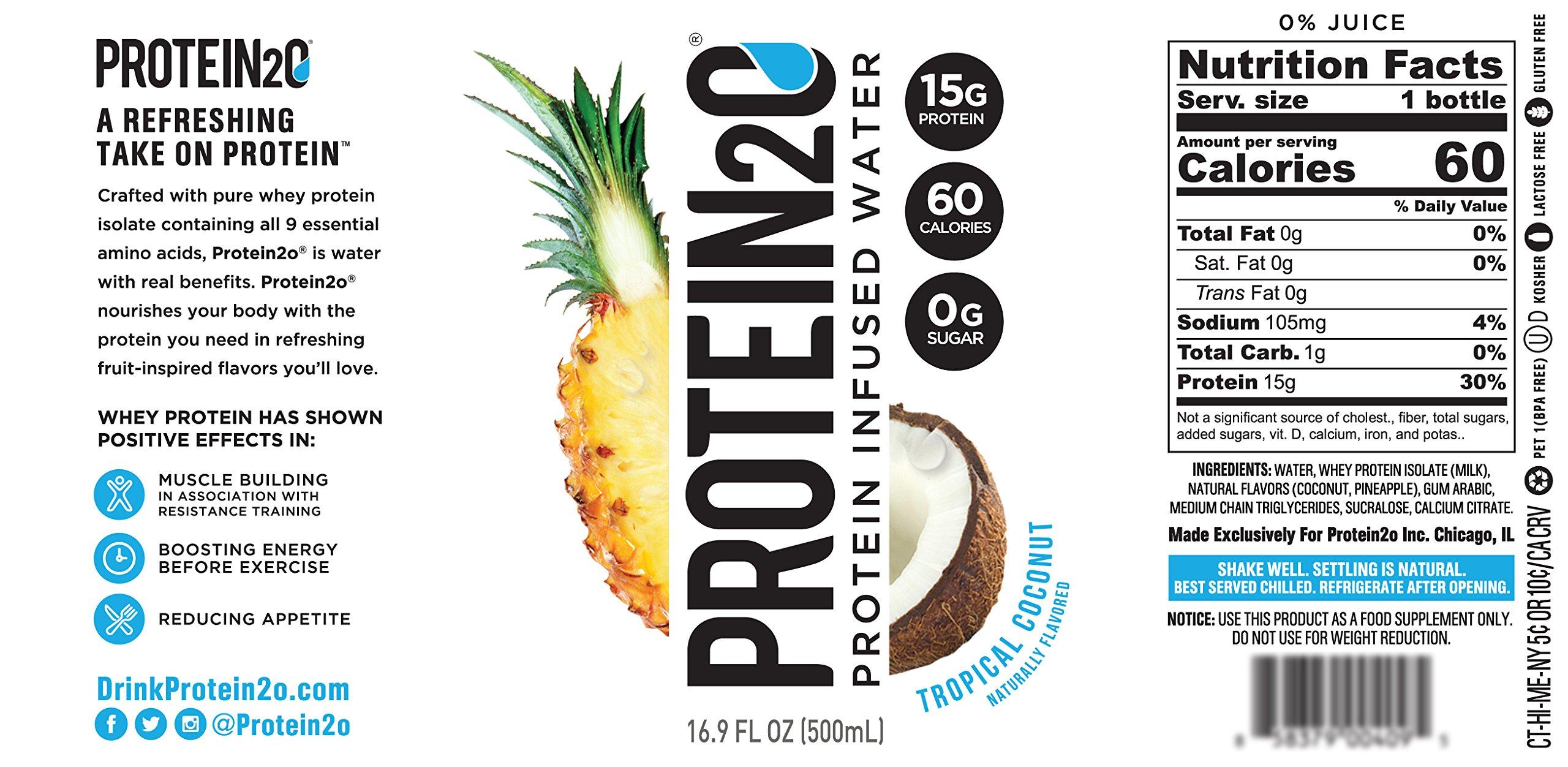 Protein2o Low Calorie Whey Protein Drink, Variety Pack, 16.9 oz (Pack of 12) by Protein2o