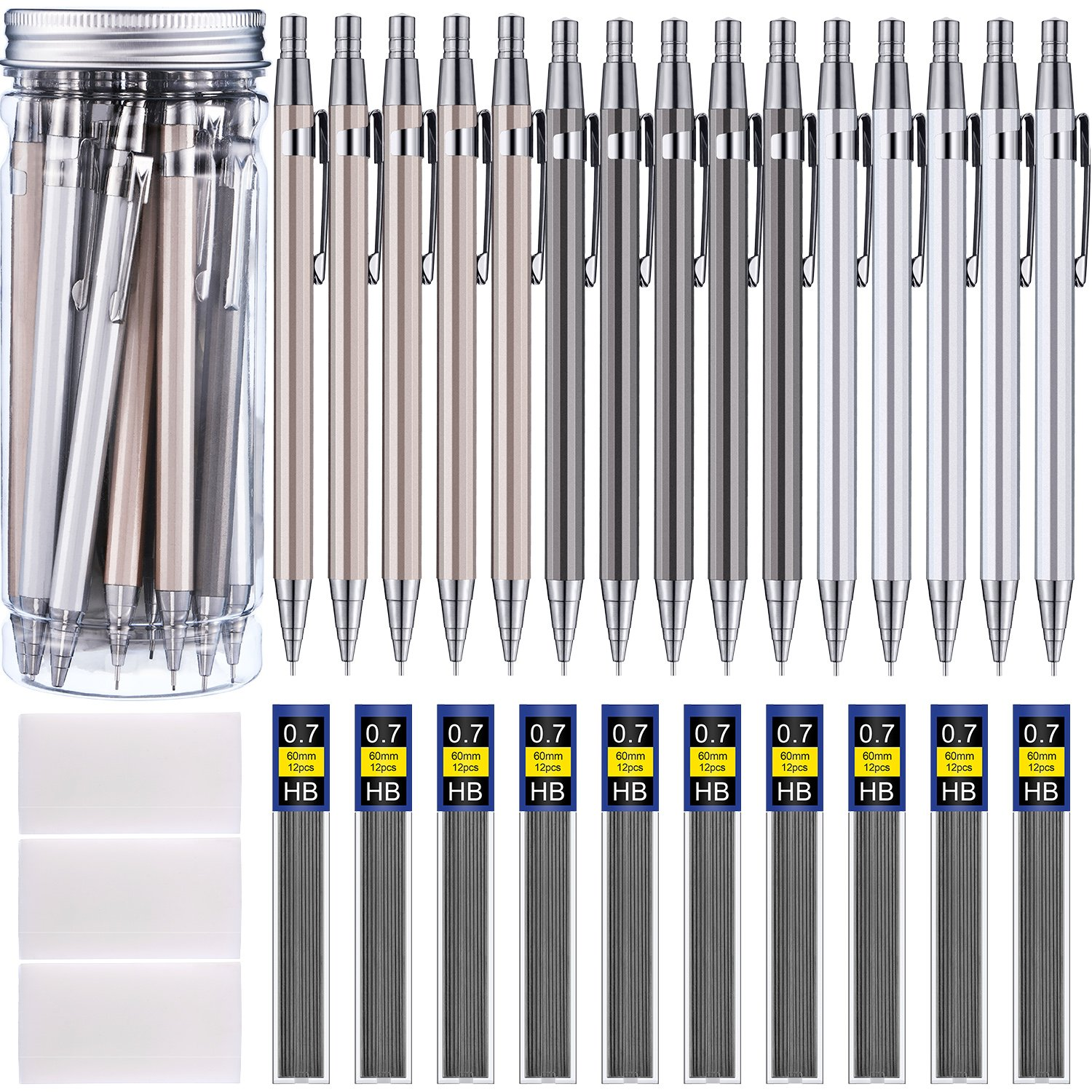 Boao 15 Pieces Metal Mechanical Pencils, 10 Tubes of Lead Refills and 3 Pieces Erasers with Clear Plastic Bottle, 0.7 mm (color set 1 0.7 mm) by Boao