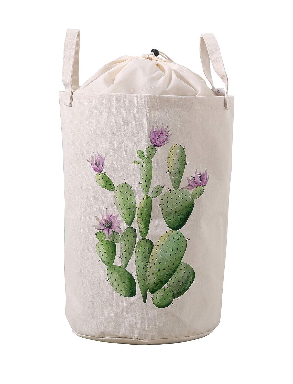 LifeCustomize Large Laundry Hamper Baskets Flowering Cactus Print Clothing Storage Bins Boxes Toy Organizer Nursery Folding Baskets with Handles