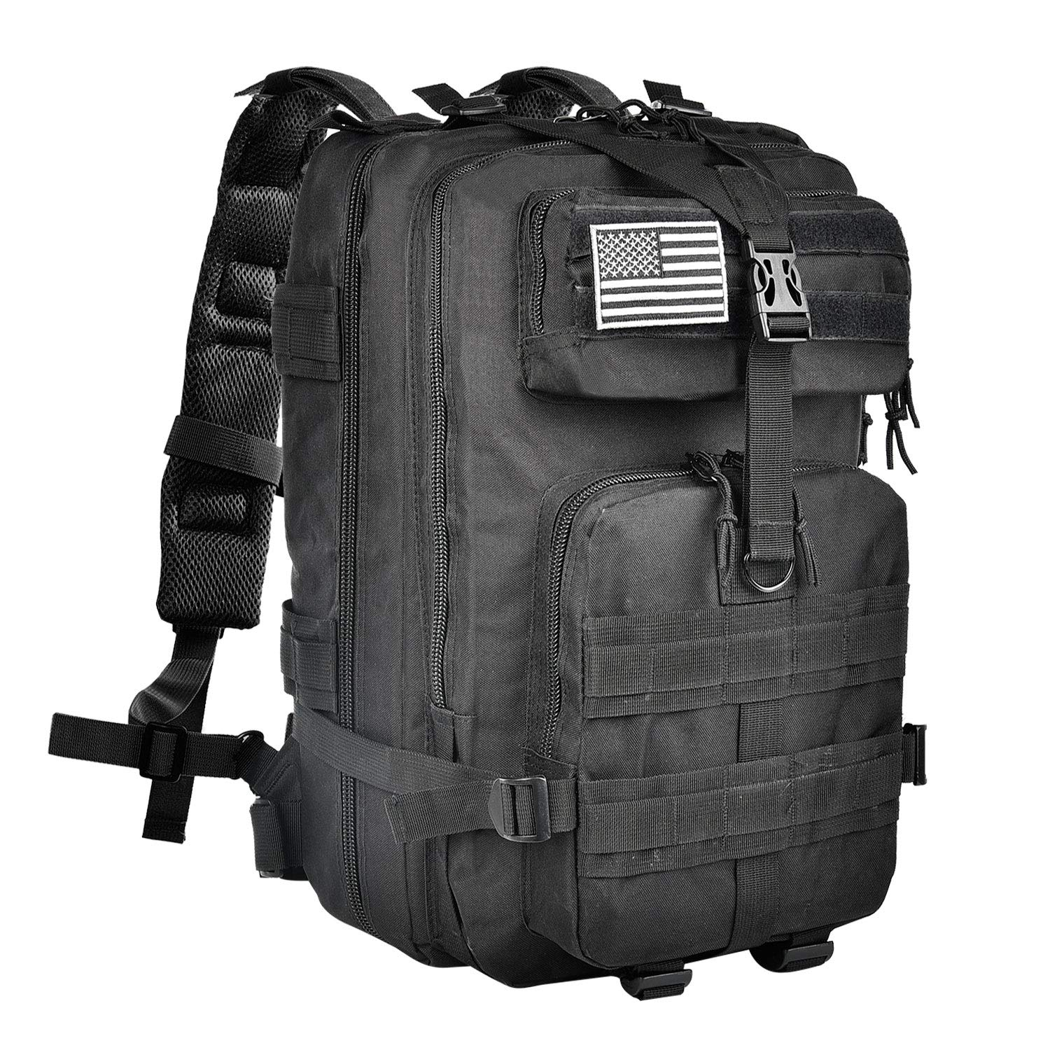 NOOLA Military Tactical Army Backpack 3 Day Pack Molle Bag Backpack Rucksacks for Outdoor Hiking Camping Trekking Hunting with Flag Patch Black