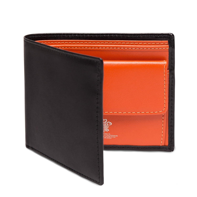 ETTINGER / エッティンガー レザービルフォールド ウォレット 二つ折り財布小銭入れ付き - ブラック/オレンジ(内側) B00EHIXN4G