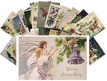 Angels Christmas Cards.Vintage Christmas Greeting Cards 24pcs Antique Christmas Wishes Angels Santa Reprint Postcard Set