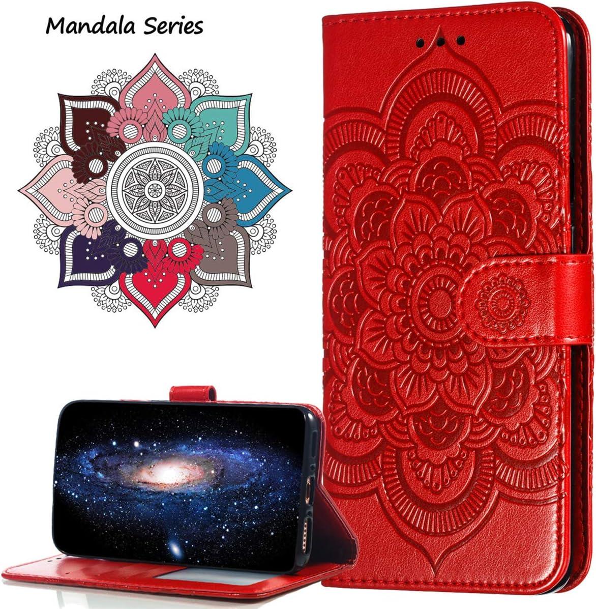 MRSTER Funda para Huawei Y6 2019 LD Mandala Purple Estampado Mandala Libro de Cuero Billetera Carcasa PU Leather Flip Folio Case Compatible con Huawei Y6 2019 // Honor 8A