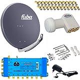 FUBA 8 Teilnehmer Digital SAT Anlage DAA850A + Opticum LNB 0,1dB FULL HDTV 4K + PMSE Multischalter 5/8 + 24 Vergoldete F-Stecker Gratis dazu