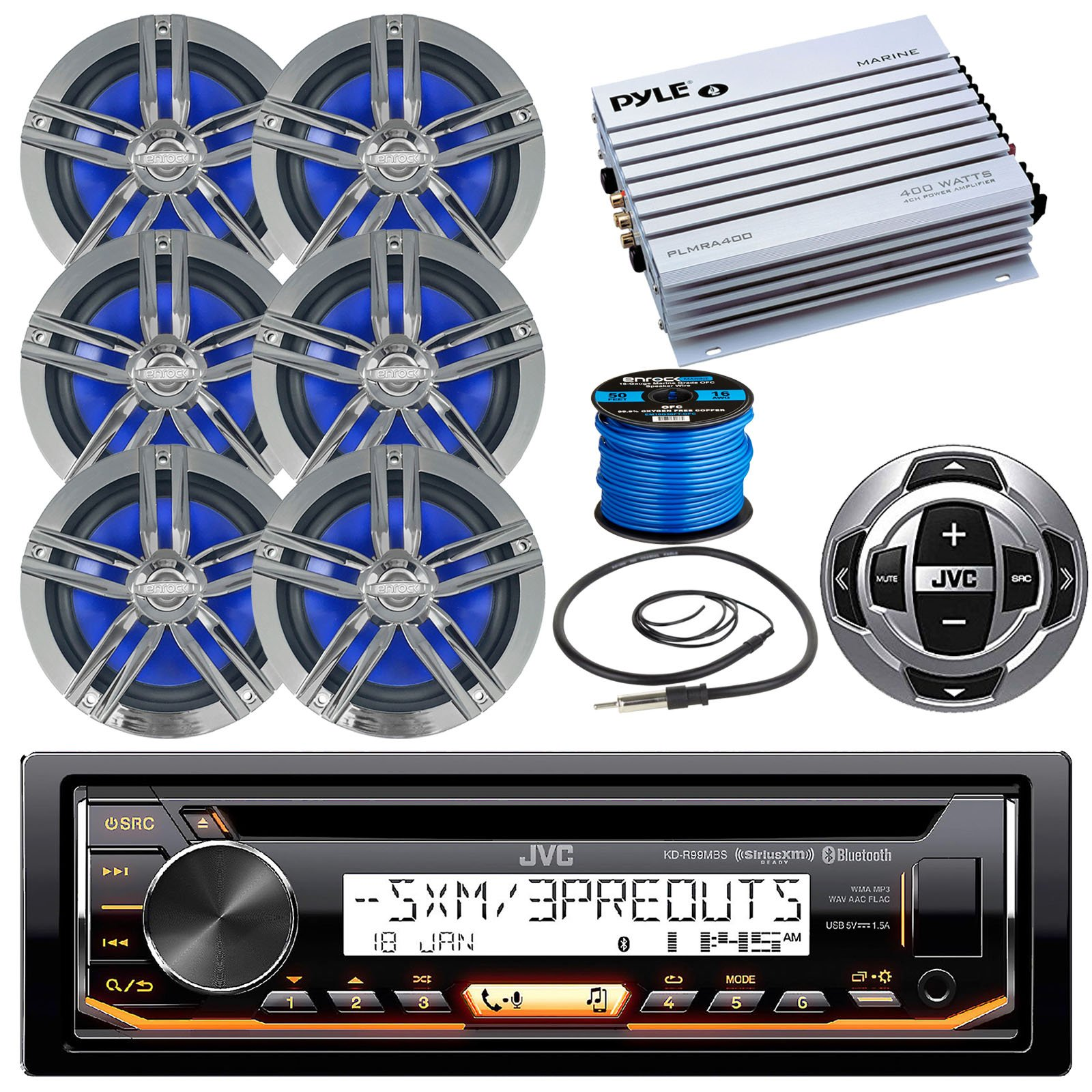 JVC KDR85MBS Marine Stereo Receiver Bundle Combo With Remote Control + 6x Enrock Black/Chrome 6.5'' Boat Speaker + Waterproof Amplifier + Radio Wire Antenna + 50 Foot 16g Speaker Wire (Chrome/Black)