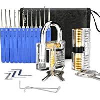 Lockpicking-set, IPSXP 17 stycken dyrkset och 2 stycken genomskinliga träningslås med läderficka, extraktorverktyg för…