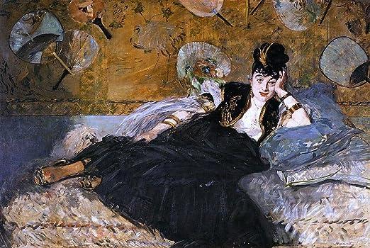 Edouard Manet Mujer con ventiladores grandes impresión arte enmarcado