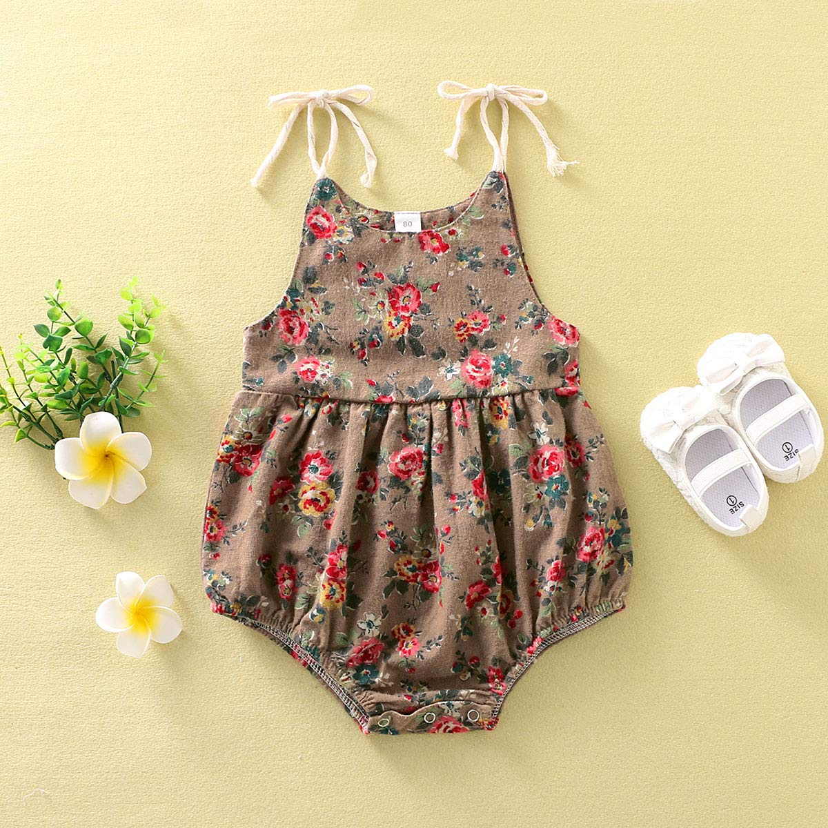 Happy Town 3-24M Floral Print Romper for Baby Girls Summer Strap Bodysuit Sunsuit Outfits