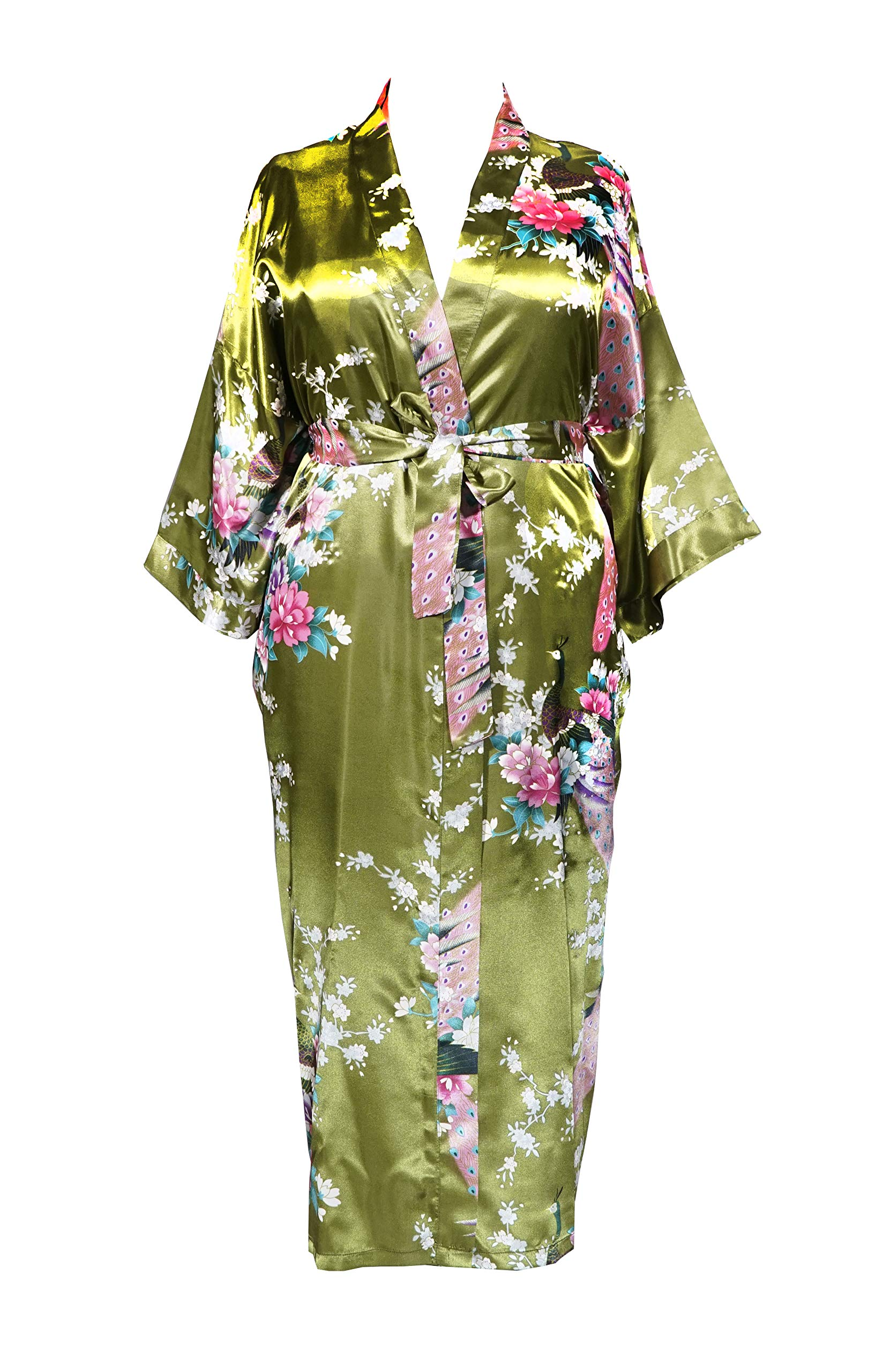 Applesauce 838 - Plus Size Women's Kimono Long Robe - Peacock Blossom (US One-Size fits Most 1X 2X 3X) (Peridot Green)