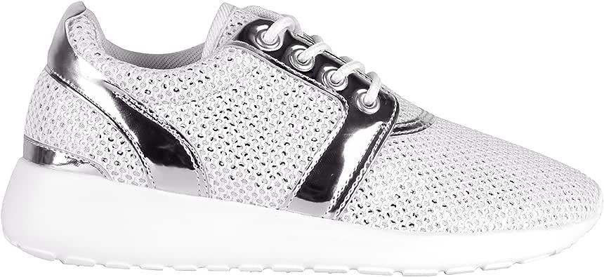 Zapatillas Running Lentejuelas Rosa[Blanco,36]: Amazon.es: Zapatos ...
