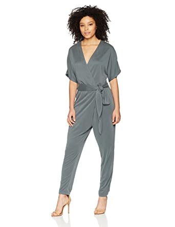 1f18d17361b39 Amazon.com: Halston Heritage Women's Kimono Sleeve V Neck Jumpsuit: Clothing