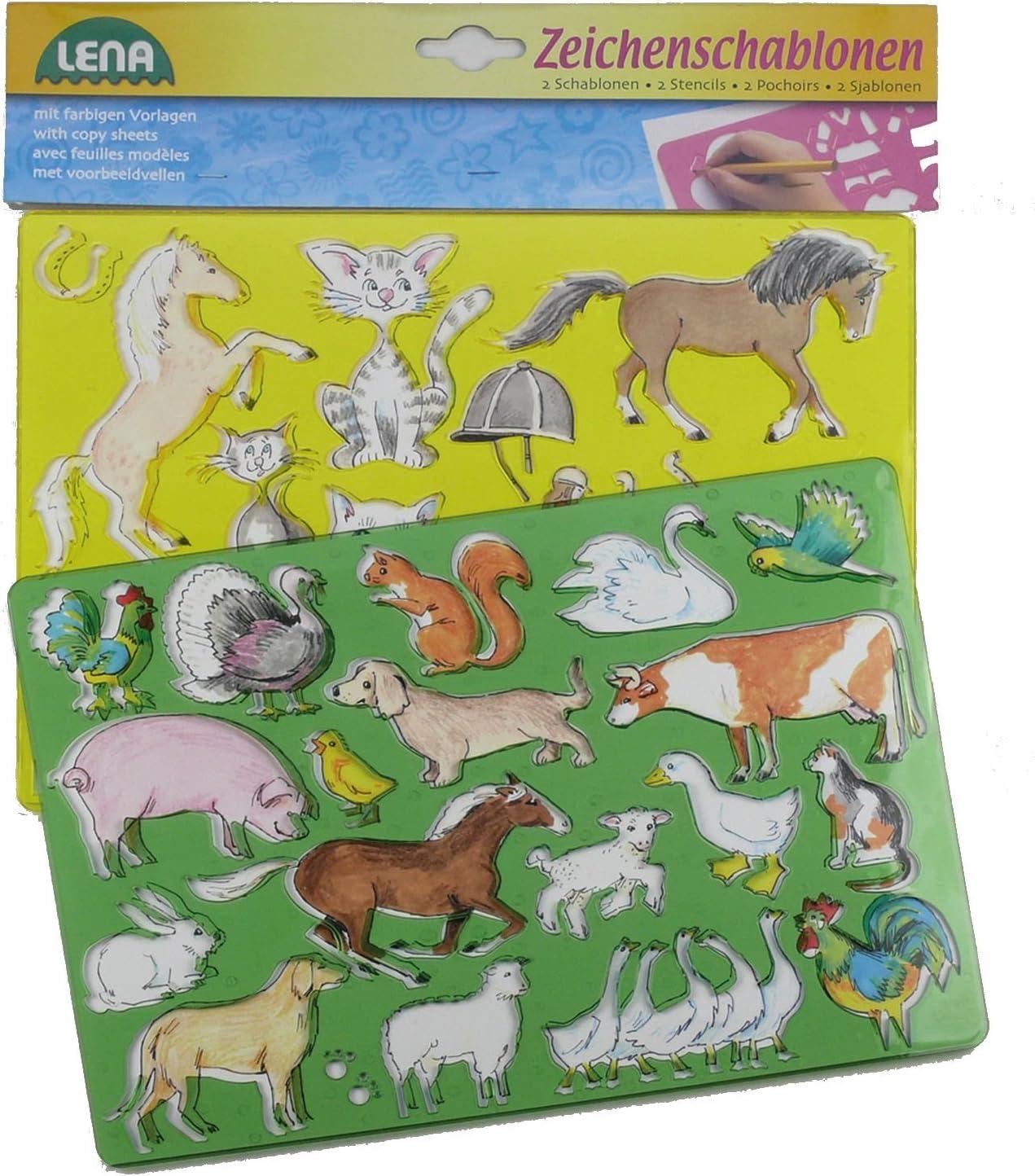Lot de 2 env 26/x 19/cm /Pochoir Afrique et animaux marins SIMM Spielwaren Lena 65768/signe/