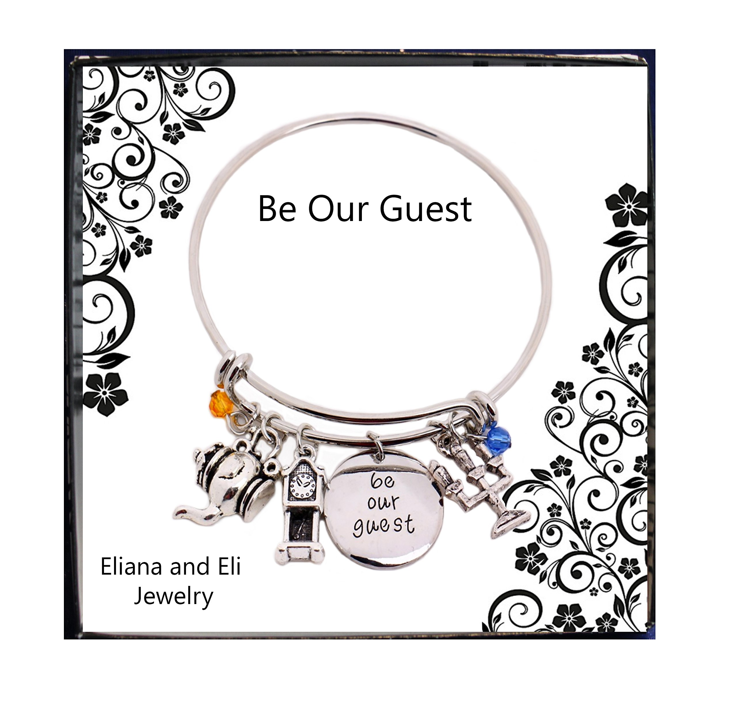 Beauty and the Beast Message Expandable Silver Bangle Bracelet Be Our Guest Pendant with Pendulum,Candlestick Charms Bangle Bracelet for Halloween Disney Mommy & Me Stainless Steel