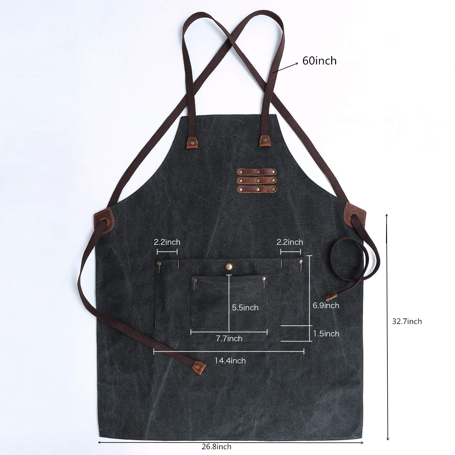 G-FAVOR Work Apron Canvas Welding Tool Woodworking Apron Durable Heavy Duty with Tool Pockets for Men Women Cross Back Straps Adjustable S to XXL(Black) by G-FAVOR (Image #6)