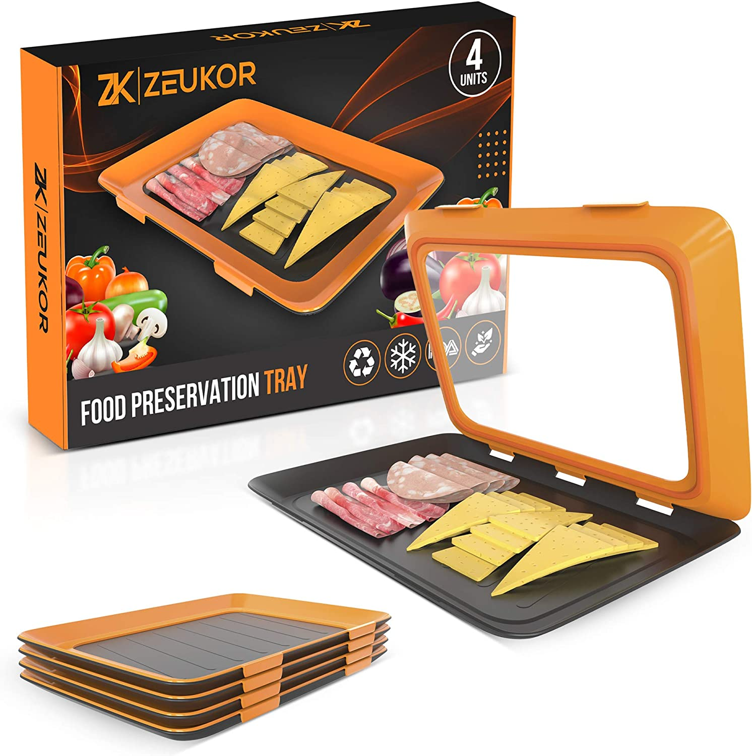 Zeukor Food Preservation Tray - Set of 4 Stackable Black & Orange Storage Containers with Elastic Covers - Tight Seal & Lock, Leftover Saver - Perfect for Cheese, Meat, Fish, Sliced Fruits, Veggies