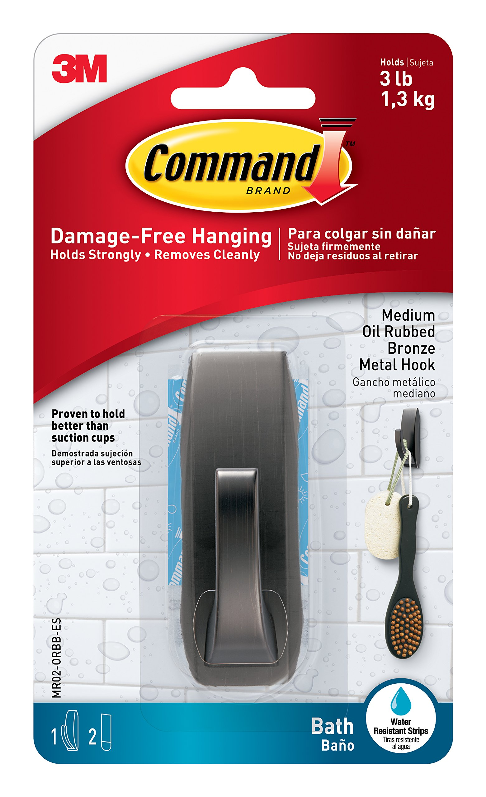 Command Modern Reflections Metal Bath Hook, Medium, Oil Rubbed Bronze, 1-Hook with Water-Resistant Strips (MR02-ORBB-ES)