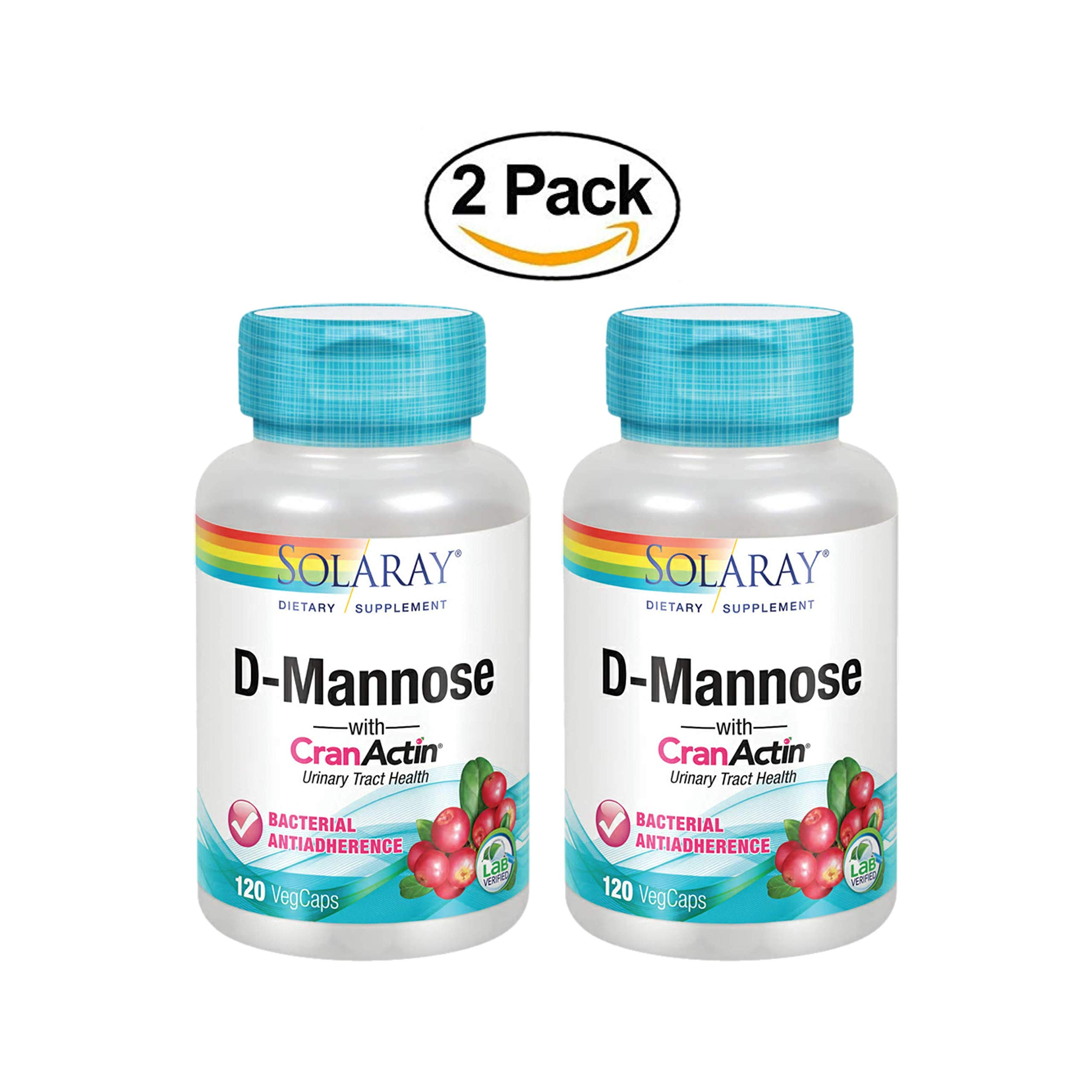Solaray® D-Mannose with CranActin Cranberry Extract 1000mg | for Normal, Healthy Urinary Tract Support | with Vitamin C | Non-GMO & Vegan | 120 Count | 2 pk by Solaray (Image #1)
