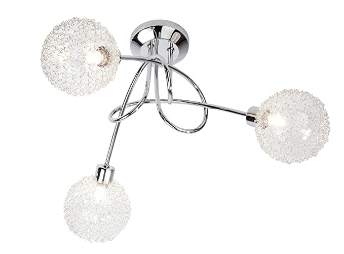 Nino Leuchten 63360306 - Lámpara de techo con bombillas halógenas, de cromo y cristal, 3 bombillas, diámetro de 40 cm, altura de 27 cm