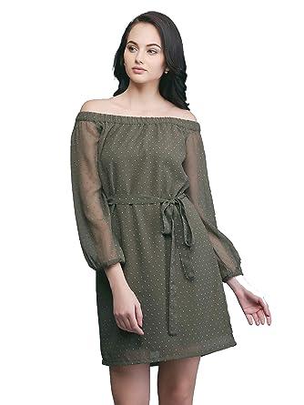 fb0d63598516 Eavan Women s Olive Green Off Shoulder Dress - EA3301  Amazon.in ...