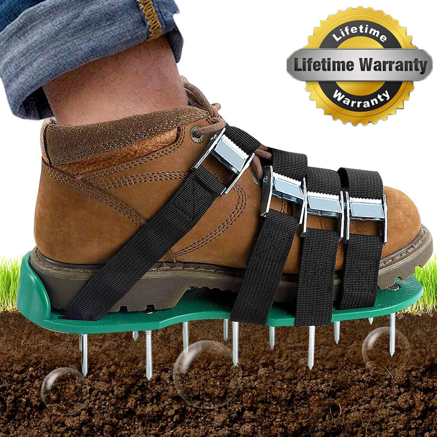 Dripex Lawn Aerator Spike Shoes -with 26 Spikes and 4 Adjustable Straps Heavy Duty Lawn Aerator Sandal Includes Garden Work Gloves for Aerating Your Lawn or Yard