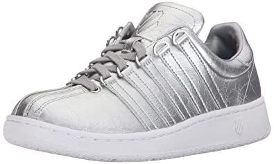 K-Swiss Women's Classic VN Aged Foil Athletic Shoe, Silver/White, 6