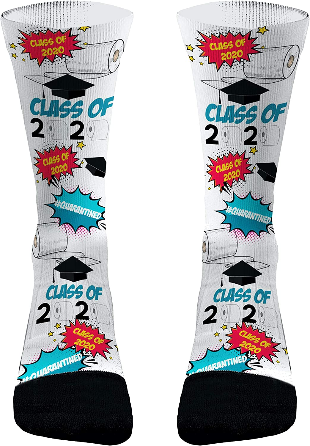 Class of 2020 Graduation Socks Gifts with Bachelor Cap and Funny Printing elements Cotton Sports Socks Calf Socks
