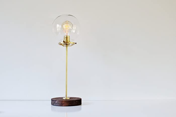 Globe Table Lamp, Brass And Wood With A Clear Glass Shade
