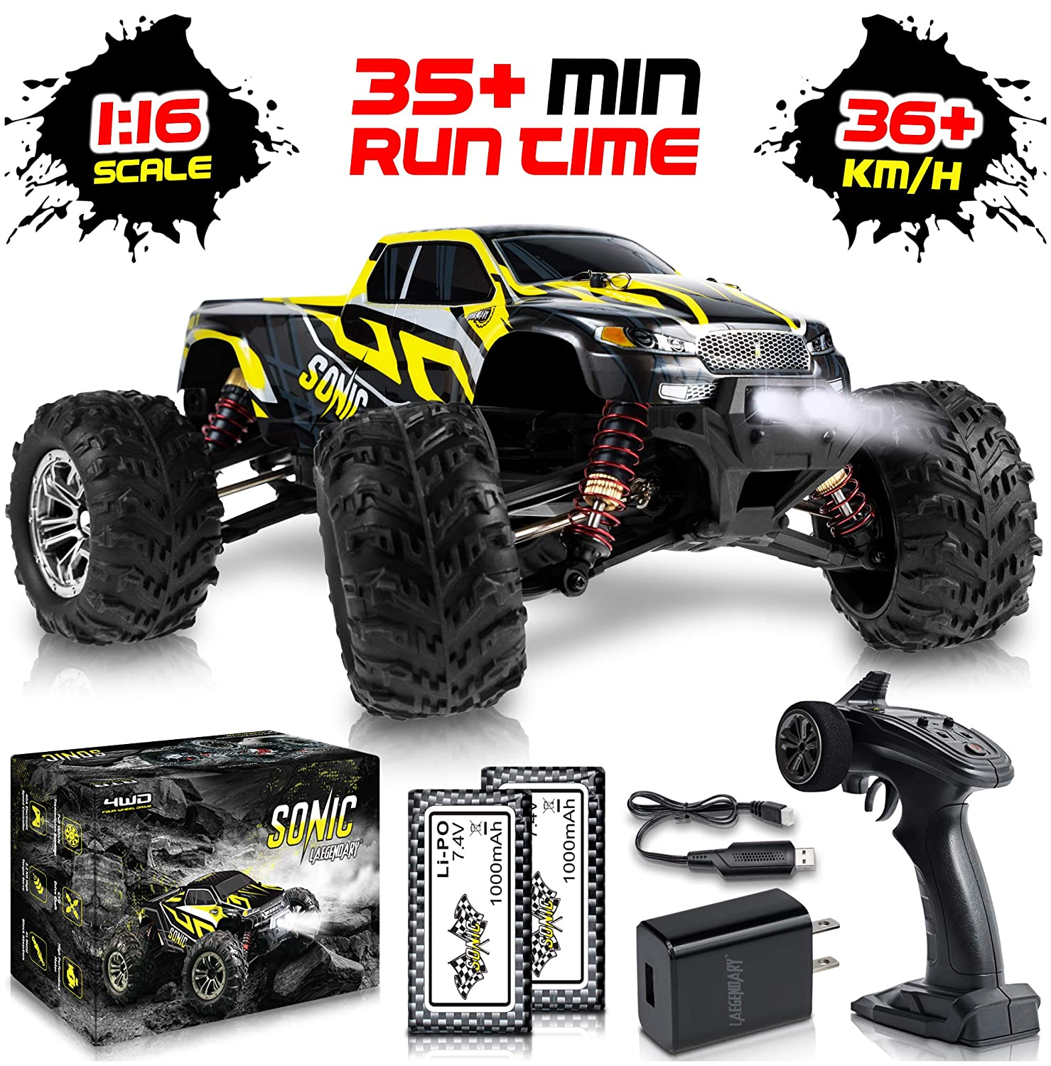 1:16 Scale Large RC Cars 36+ kmh Speed - Boys Remote Control Car 4x4 Off Road Monster Truck Electric - All Terrain Waterproof Toys Trucks for Kids