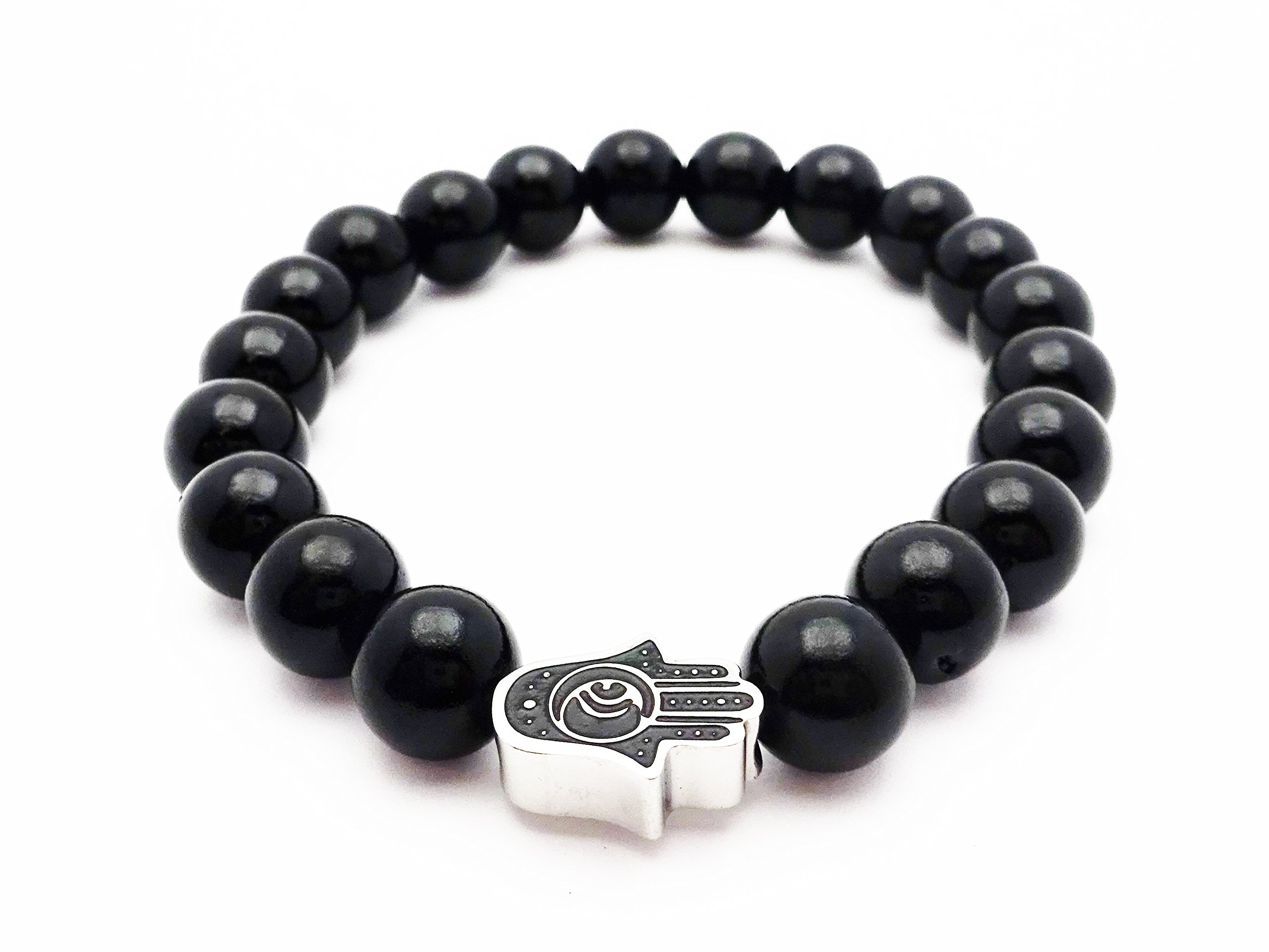 Fine Jewelry 4 Me Shiny Black Bead Bracelet with Silver and Black Hamsa