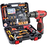 Dedeo Cordless Hammer Drill Tool Kit, 60Pcs Household Power Tools Drill Set with 16.8V Lithium Driver Claw Hammer…