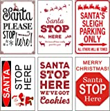 Set of 6 Christmas Santa Stop Here Poster Signs - 11 Inch X 17 Inch