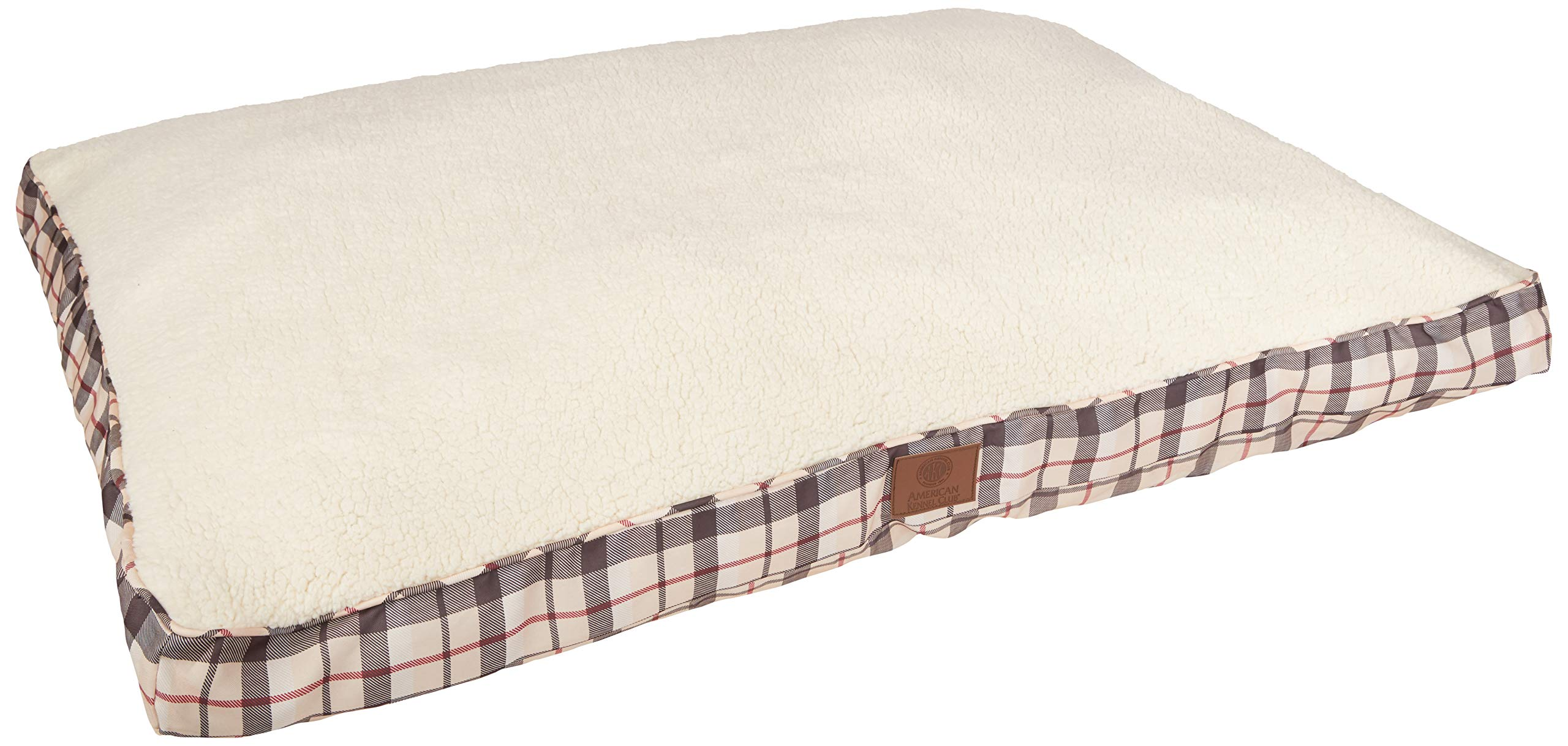 American Kennel Club AKC9261TAN Plaid Bed Pet Gusset Bed, Tan, X-Large