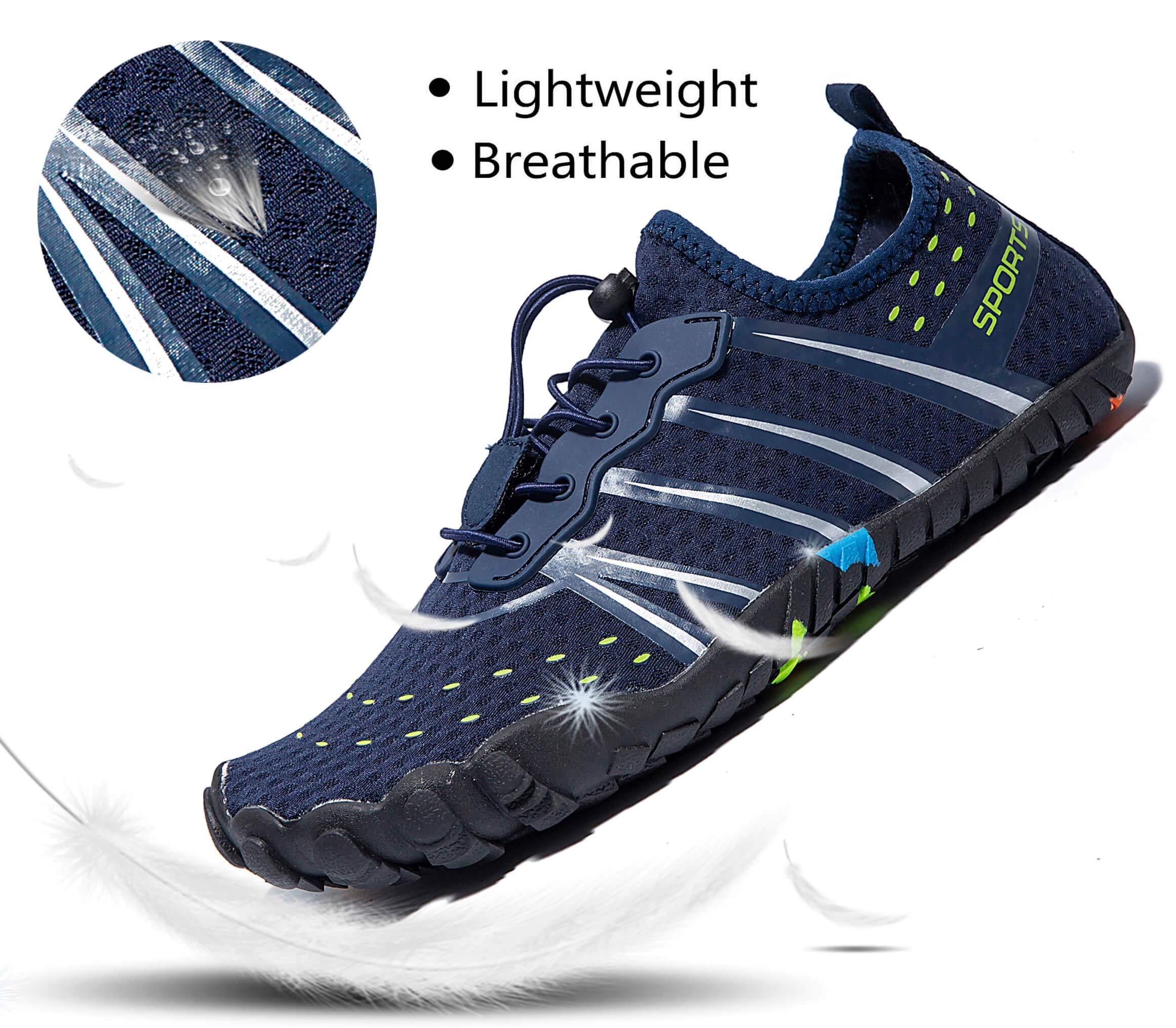 LINGTOM Mens Womens Aqua Water Shoes Quick Dry Barefoot Sports Exercise for Walking Swimming Diving Beach Surf Pool Yoga,Dark Blue 12.5 M US Women / 11 M US Men by LINGTOM (Image #3)