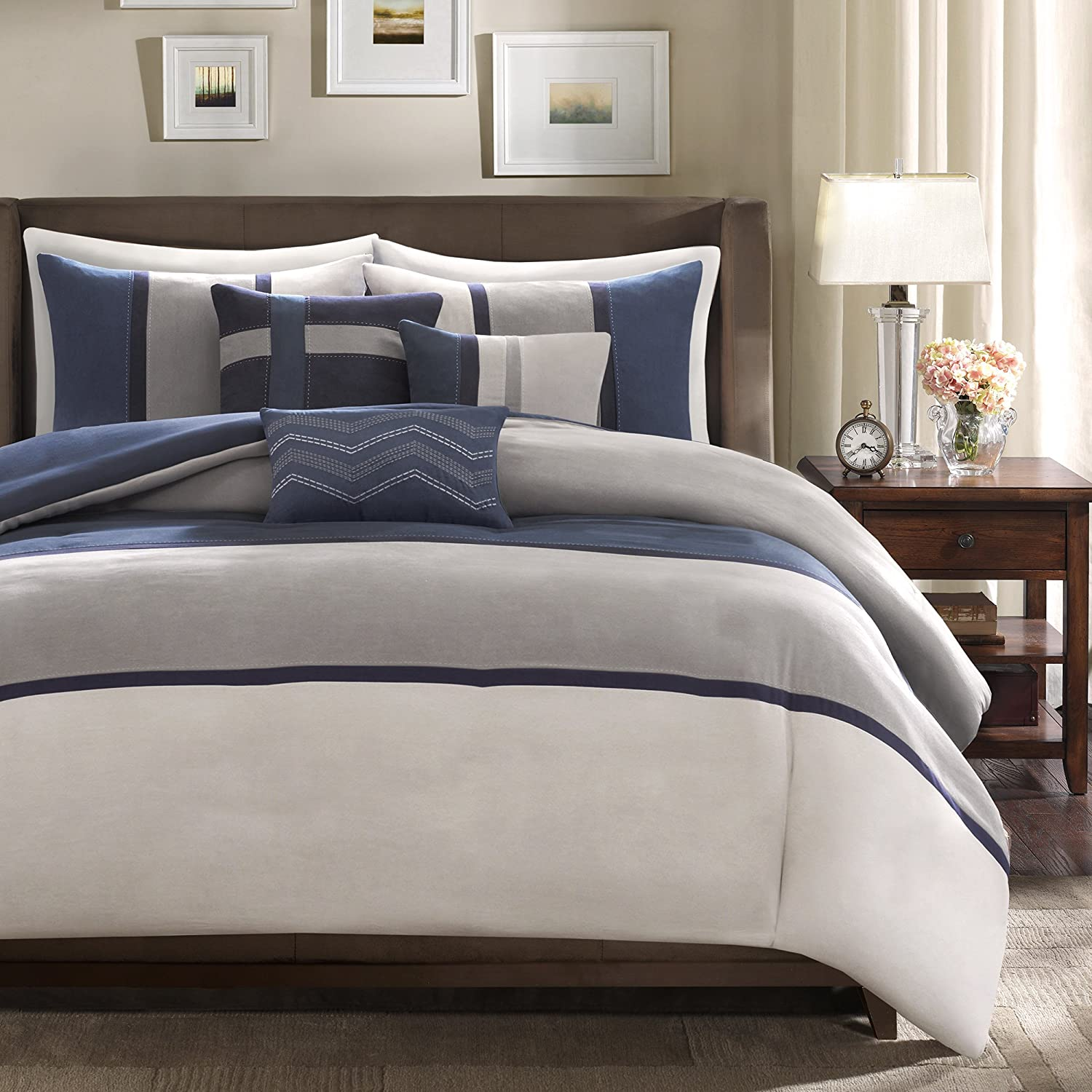 Madison Park Palisades 7 Piece Comforter Set-Blue-Cal.King, California King
