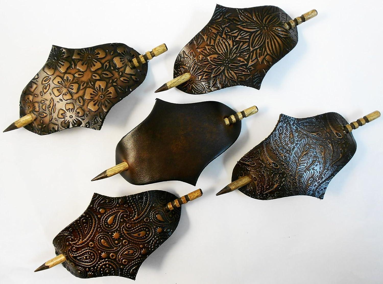 2 Very Large Leather Hair Barrettes w Sticks, Diamond Shape Ponytail Holders, Choice of Design