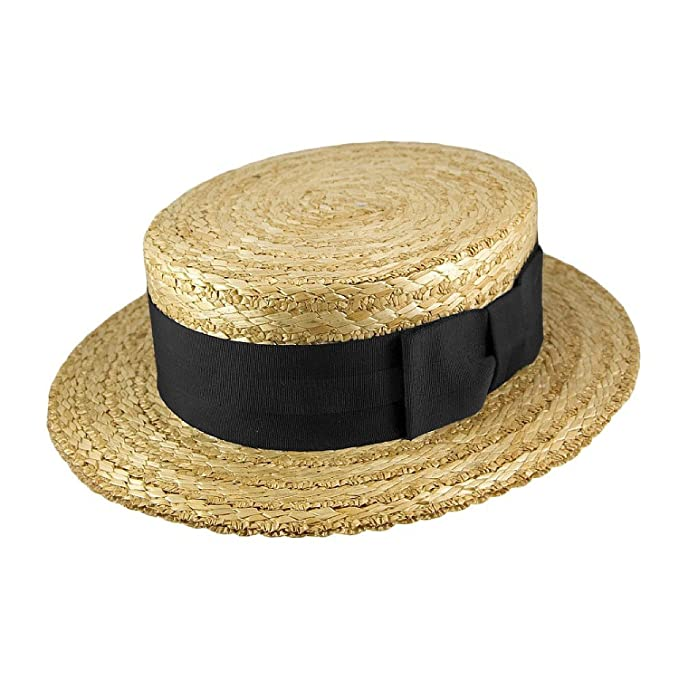 Men's Vintage Style Hats Olney Traditional Straw Boater - Black Band �39.99 AT vintagedancer.com