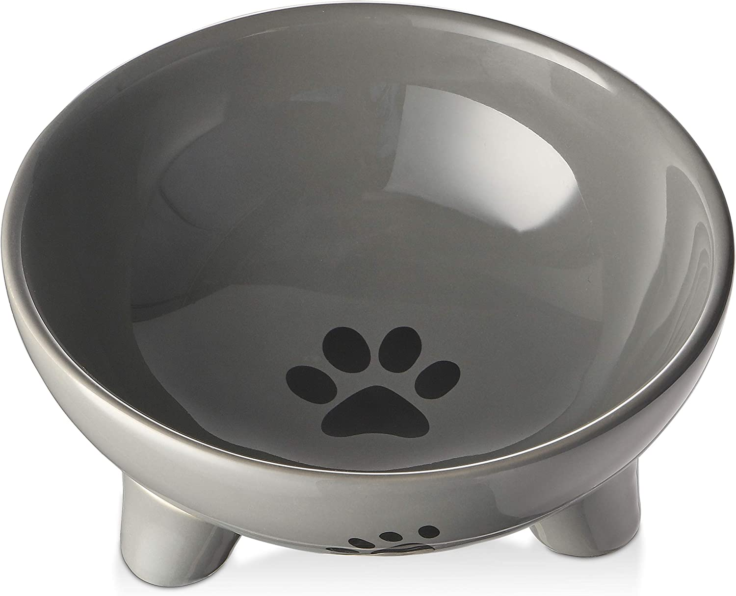 Y YHY Elevated Cat Bowls Dog Bowl,27 Ounce Ceramic Raised Cat Food Bowl,Pet Bowls for Cat/Small Dog,Anti Vomiting,Protect Spine,Stress Free,Microwavable and Dishwasher Safe,Grey