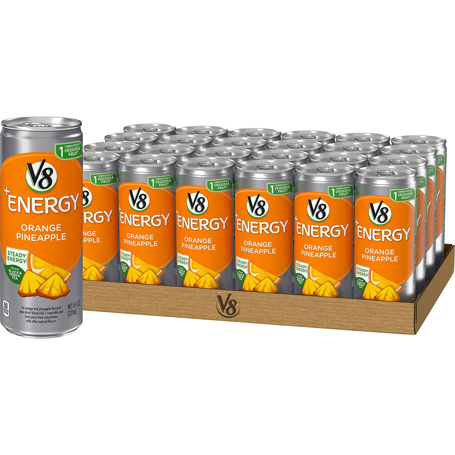 V8 +Energy, Healthy Energy Drink, Natural Energy from Tea, Orange Pineapple, 8 Fl Oz Can, 24 Count (Pack of 1)