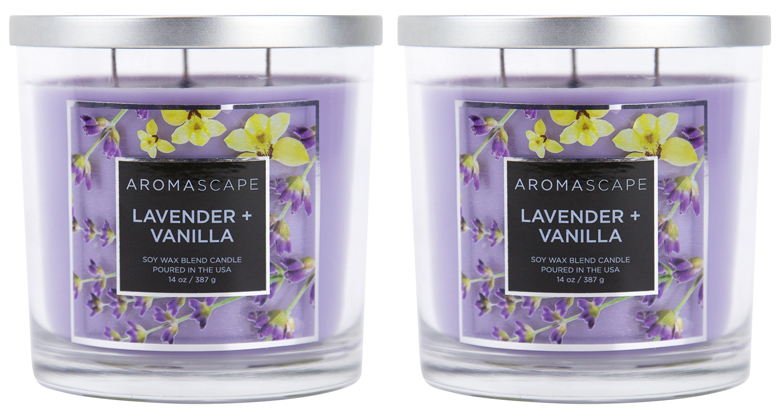 Aromascape 3-Wick Scented Jar Candle, Lavender and Vanilla, 2-Count