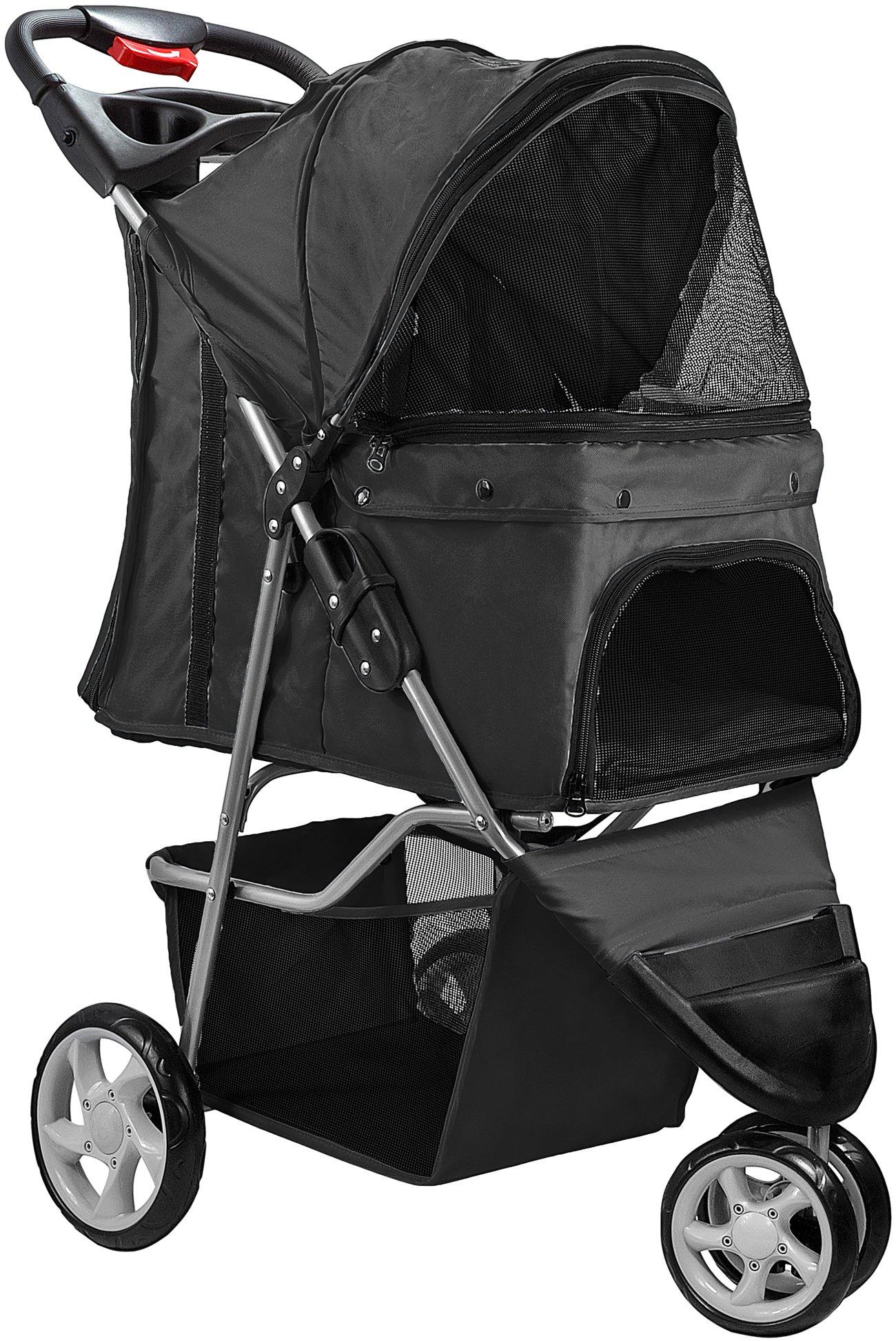 Paws & Pals 3 Wheeler Elite Jogger Pet Stroller Cat/Dog Easy Walk Folding Travel Carrier, Onyx Black