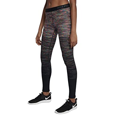 4818c279935c37 Nike Women's Pro Hyperwarm Fleece Printed Athletic Tights Leggings  Black/Grey (X-Small