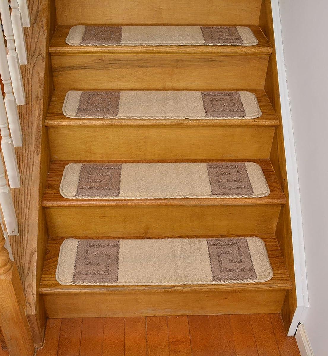 Millenium Stair Tread Treads Greek Key Design Indoor Skid Slip Resistant Carpet Stair Tread Treads Greek Key Design Machine Washable 8 ½ inch x 30 inch (Set of 13, Meander Beige)